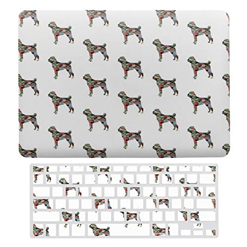 for MacBook Air 13 13 Inch Case A1466、A1369 Hard Shell Cover for MacBook Air 13 Case & Keyboard Cover, Shar-Pei Dog Breed Geo Silhouette Plaid Laptop Protective Shell Set