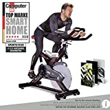 Sportstech Professional Indoor Cycling SX400 with Smartphone App Control, 22KG Flywheel, Arm support, Pulse Belt compatible – Speedbike in Studio Quality -with Kinomap & eBook incl.