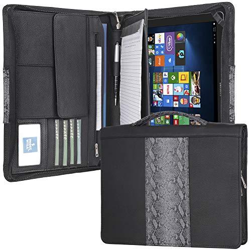 Galaxy Book 12用レザージッパーポートフォリオ、引き込み式ハンドル付きビジネスブリーフケース、右利きまたは左利きに適