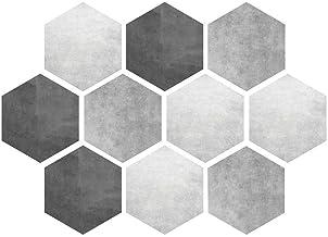 Cikonielf 10 Stks Vloerstickers Waterdichte Non-Slip Zeshoekige Zelfklevende Keramische Tegel Muur Papier Decals Thuis Bad...