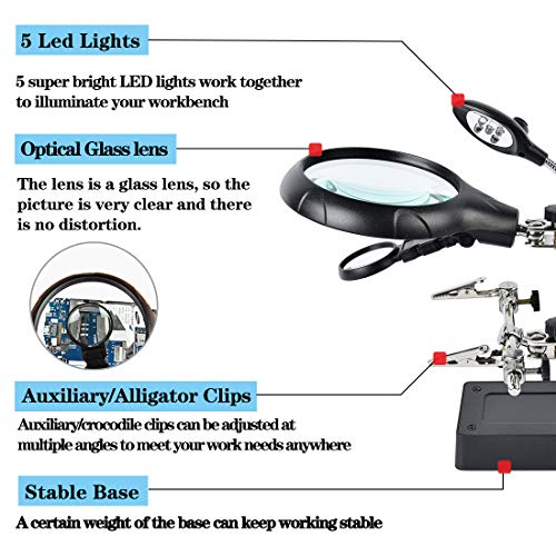 Beileshi 2.5X 7.5X 10X LED Light Helping Hands Magnifier Soldering Station,Magnifying Glass Stand with Auxiliary Clamp and Alligator Clips
