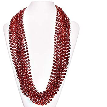 72 Pack 33 Inch Round Metallic Mardi Gras Party Necklace Beads Red