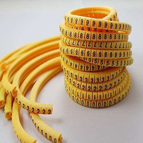 LiuliuBull Z 0,5 0,75 1,0 1,5 2,5 4,0 6,0 10,0 16 25 35 Mm2 Yellow Marcador Cable Ciruelo Tubing 0-9 número Diferente (Color : 2.5mm2...