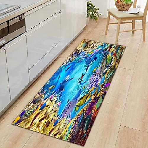 OPLJ 3D Underwater World Küchenmatte Eingang Fußmatte Schlafzimmer Bodendekoration Wohnzimmer Teppich rutschfeste Fußmatte A16 40x60cm