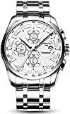 ZFAYFMA Reloj para Hombres, Reloj mecánico automático de Lujo Zafiro de Lujo de Acero Inoxidable de Acero Inoxidable Fecha de Negocios Reloj Impermeable Deportes Silver