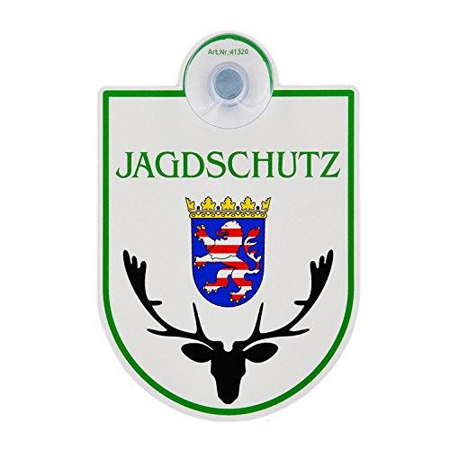 """Saugnapfschild Schild """"Jagdschutz - Hessen"""" Acrylschild 3mm mit Saugnapf 30mm, ca. 90x125 mm für Scheibeninnenbefestigung"""