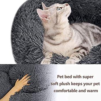 Panier Chien Lit Rond et Doux pour Chats et Petits Chiens Animal Familier Domestique Coussin de Sommeil pour des Dormant (50CM, Gris Foncé)