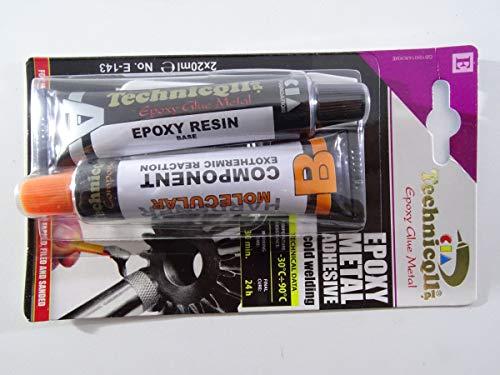Pegamento adhesivo epóxico muy fuerte para metales, aleación, acero, bronce, etc., 2 unidades de 20 ml, para soldar en frío