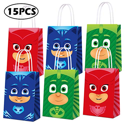 Party Favor Bags for PJ Masks Party Supplies, Party Gift Goody Treat Candy Bags for PJ Masks Party Favors Birthday Party Decor for PJ Masks Party Girls Kids Birthday Decorations - 15 PCS