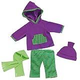 Bayer Design - 84644 - Vêtement pour Poupée - Habit Poupon - Ensemble Gilet A Capuche + Pantalon Jogging Sport - Vert/Violet - 40-46 Cm