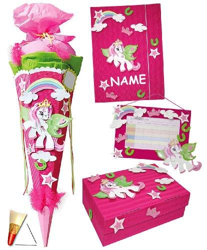 alles-meine.de GmbH personalisierte Tüll - Schleife - passend für Bastelset Schultüte - 85 cm + Schulbox / Kreativbox + Mappe + Stundenplan - incl. Namen - Pony Pferd Mädchen - Z..