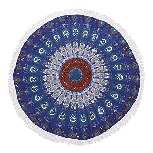 Colcolo Toalla de Playa Manta de Tapiz Cubierta Floral Redonda de Estera de Yoga - Azul Oscuro