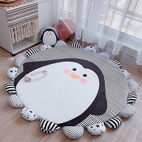 Tappeto Gioco Cartone Animato Ispessito per Bambini Animali Crawl Pad Casa Soggiorno Camera da Letto Tappeto Rimovibile Rotondo Diametro Interno 140 Cm Piccolo Pinguino