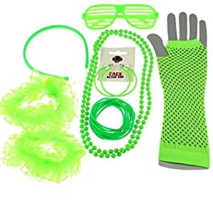 8 Piece 1980s Neon Fancy Dress Set