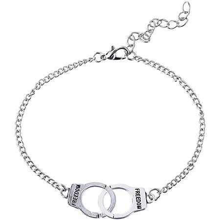 BESTOYARD Moda manette bracciale forma cavigliera coppia serratura festival regalo gioielli decorazione per donne uomini (argento)
