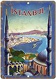JuYiCk Cartel de metal vintage de viaje de Estambul, 20 x 30 cm, decoración adecuada para cafeterías, restaurantes, hoteles, bares, casas rurales y jardines