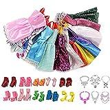 Passer Accesorios de ropa para muñecas, 26 piezas de ropa de muñecas vestido de fiesta conjunto para muñeca de 30 cm 10 moda mini vestido+10 zapatos de muñeca+6 muñecas Secss..