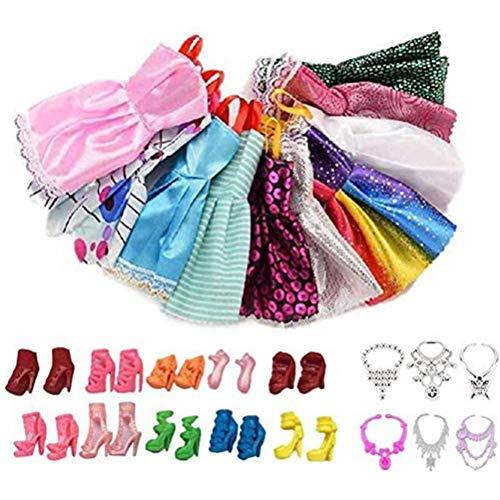 26 piezas de ropa para muñecas, 10 ropa casual elegante + 10 tacones altos + 6 collares, para trajes de muñecas de 11.5 pulgadas, regalo de recompensa de cumpleaños para niños (color y estilo al azar)