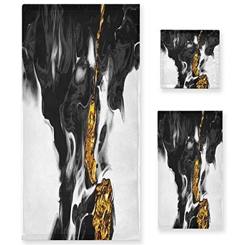 Naanle Juego de 3 toallas de baño de mármol blanco y negro para baño de algodón altamente absorbente, toalla de baño grande+toalla de mano+toalla, paquete de 3 toallas suaves para decoración