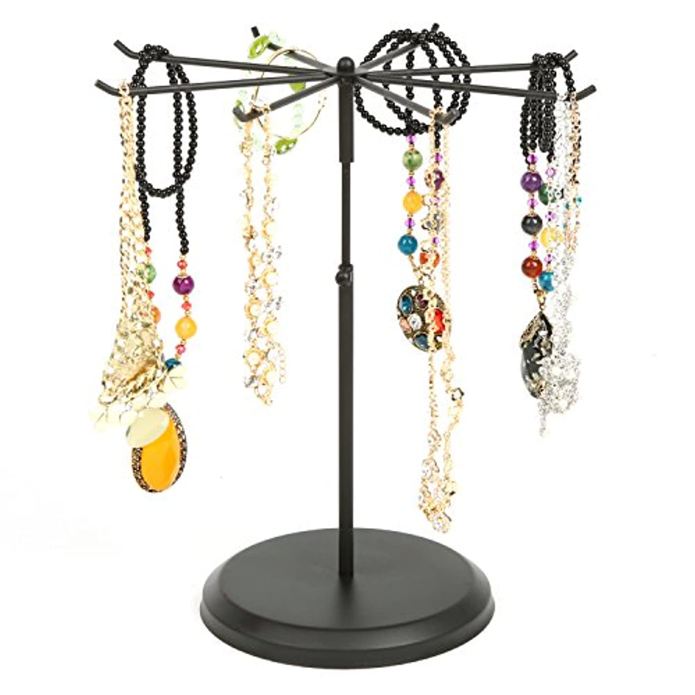 MyGift Black Metal Rotating 8 Hook Necklace & Bracelet Organizer/Countertop Jewelry Tower Display Stand