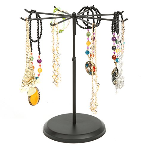 MyGift 8-Hook Adjustable Height Black Metal Rotating Necklace & Bracelet Organizer, Jewelry Accessory Display Tower Stand