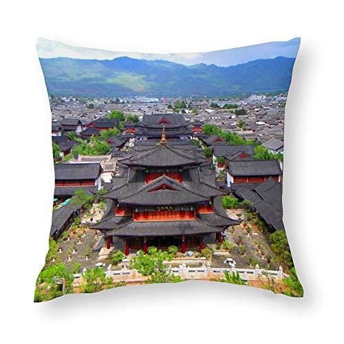 DUTRIX Funda de cojín Ciudad Antigua China (3) (40x40cm Fundas de Almohada Creativas con Cremallera Funda de cojín de impresión Decorativa para el hogar,