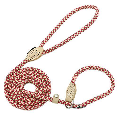 Grand Line Laisse Dressage Chien Lasso Laisse pour Chiens Petits, Moyens, Grands et Très Lourds - 0,6cm de Diamètre x 150cm de Longue(Rouge)