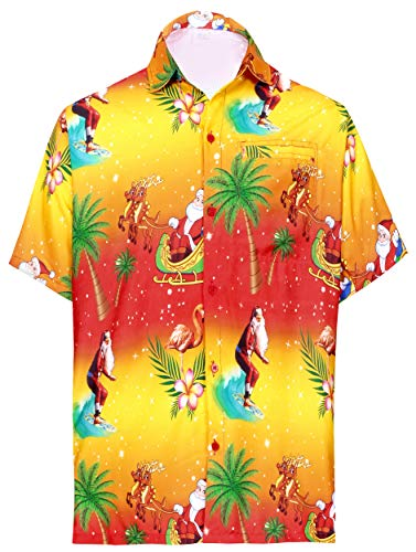 LA LEELA Men's 3D HD Santa Claus Christmas Dress Short Sleeve Hawaiian Shirt 5XL Orange_W581