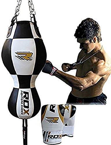 sacco da boxe pelle RDX Sacco da Boxe Pelle 3 in 1 Sacchi Pugilato Palla Veloce MMA Angolo Bag Pieno Guanti Terra Base Allenamento