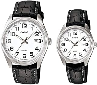 Casio His & Hers White Dial Leather Band Couple Watch - MTP/LTP-1302L-7B