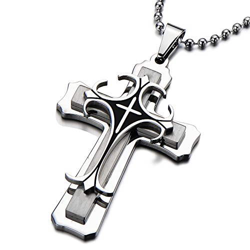 COOLSTEELANDBEYOND Tri-layer Man's Stainless Steel Cross Pendant Necklace Silver Black Two-tone with 23.6 in Ball Chain