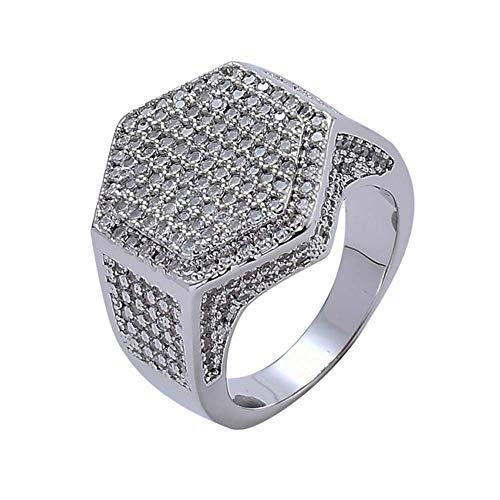 CSJD Zeshoek Ring, Micro-Inlaid Zirkoon Gouden Ring Gepersonaliseerde Heren Ring