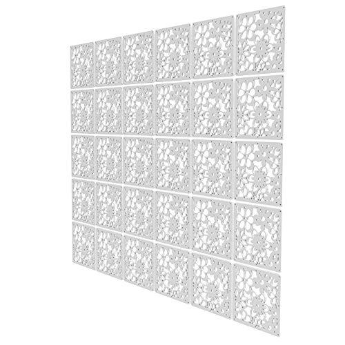 Biombos para Separar Espacios de 30 Piezas - 197x236.5cm - Blanco Panel Divisor Ambientes Patrón De Calado Separador Ambientes Moderno para Estantes Y Escritorios