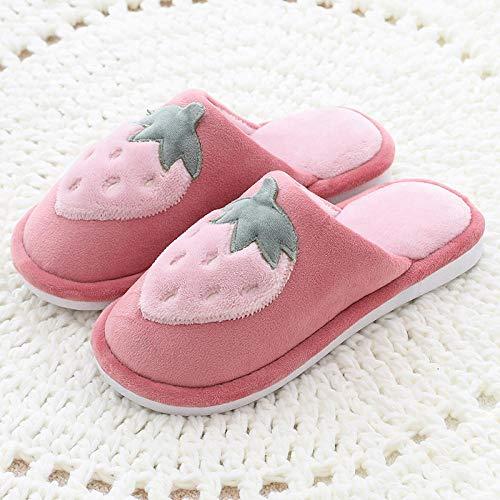 FPXNBONE Zapatillas cómodas y cálidas antideslizantes, invierno cálido frutas pantuflas, par de zapatillas de algodón de felpa de piel roja_35-36, zapatillas de casa cómodas