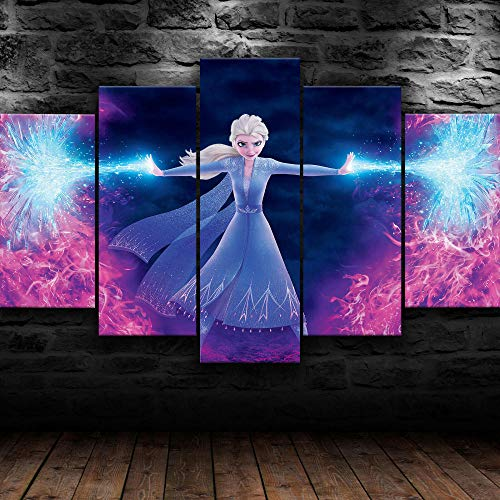AWER Cuadros Modernos Impresión de Imagen Artística Digitalizada   Lienzo Decorativo para Tu Salón o Dormitorio   Película Elsa Princess   5 Piezas 200x100cm XXL