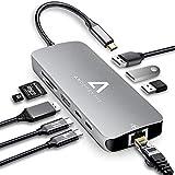 USB C HUB 9 in 1 USB C AdapterTragbarer Platz Aluminium mit 4K HDMI 3*USB 3.0 100W PD SD/TF...