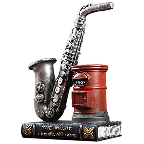 PQZATX American Retro Saxophon Stift Halter Harz Mode Studie Büro Pers?nlichkeit Stift Einsatz Geburtstags Geschenk B
