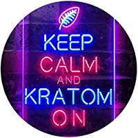 Keep Calm and Kratom on Dual Color LED看板 ネオンプレート サイン 標識 赤色 + 青色 400 x 600mm st6s46-i3213-rb