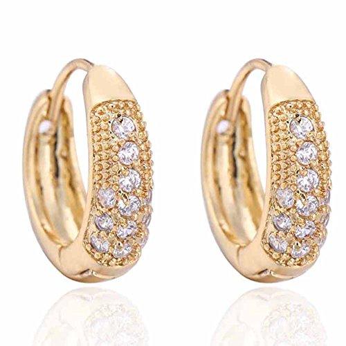 Pendientes de oro auténtico de 18 quilates chapados en platino con circonitas delicadas