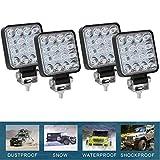 CICMOD 4 Pzs Faro LED Trabajo, 12V 24V 48W 6000lm Focos LED Tractor IP67 Impermeable per Off-Road SUV UTV ATV Camión Cuadrado