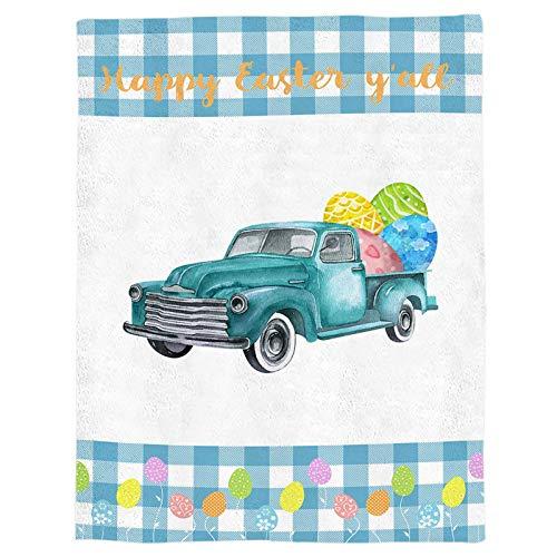 Manta de Tiro de Franela Happy Easter Blue Truck Plaid Manta de Cama de Lana Ligera Huevos de Colores Manta Suave y cálida Sofá/sofá/Silla para Todas Las Estaciones