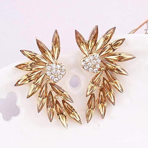 ZhenS 16 Colores pequeños Pendientes de botón con alas de corazón Piedra de Cristal acrílico para Mujer Pendientes de perforación de Moda joyería de Boda Regalo-Amarillo