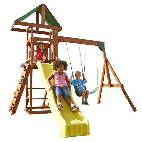 Swing-N-Slide Scrambler Playset with Two Swings, Slide and Rock Wall