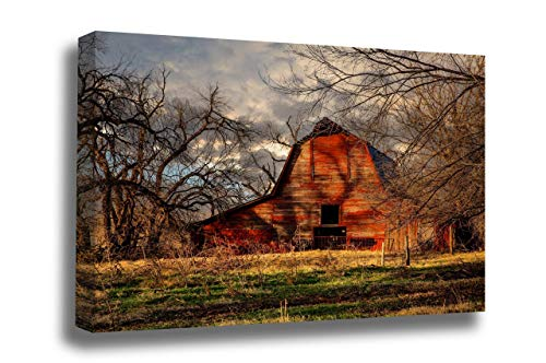 Country Photography Canvas Wall Art - Gallery Wrap of Rustic Red Barn in Shadows of Leafless Trees on Autumn day in Oklahoma - Ready to Hang Farmhouse Photo Artwork Decor 8x10 to 40x60