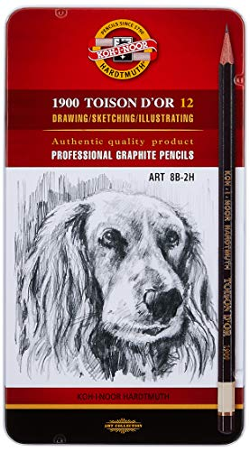 KOH-I-NOOR TOISON D'OR 8B-2H Graphite Pencil (Pack of 12)