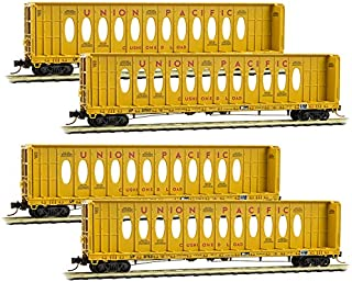 Micro-Trains MTL N-Scale 60' Centerbeam Flat Cars Union Pacific/UP Runner 4-Pack