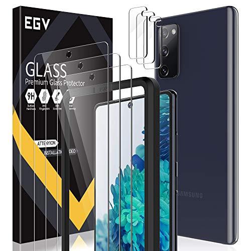 EGV [6 Stück Schutzfolie für Samsung Galaxy S20 FE 4G/5G,【3 Stück Panzerglas + 3 Stück Kamera Panzerglas】 9H Härte Panzerglasfolie, HD Klar Displayschutzfolie [Einfache Installation][Blasenfrei]