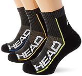 HEAD Unisex-Adult Performance Short Crew (3 Pack) Tennis Socks, mid Grey/Black, 43/46 (3er Pack)