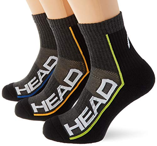 Head Performance Short Crew Socks (3 Pack) Calcetines de tenis, Gris Medio/Negro, 43/46 (Pack de 3) Unisex adulto
