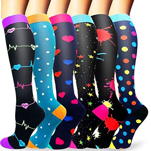 Sooverki Calcetines de compresión para Mujeres y Hombres 20-25 mmHg es el Mejor Graduado atlético, Correr, Volar, Viajar, Enfermeras 09-Multicolor-6 Pares S/M
